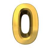 3d número 0 en oro Imágenes de archivo libres de regalías