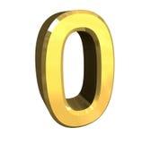 3d número 0 no ouro Fotografia de Stock Royalty Free