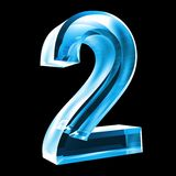 3d número 2 en vidrio azul Fotografía de archivo libre de regalías