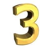 3d número 3 no ouro Fotografia de Stock