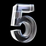 3d número 5 en vidrio Foto de archivo libre de regalías
