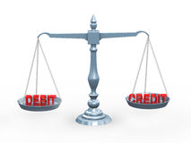 3d na skala słowo kredyt debet i Obrazy Royalty Free