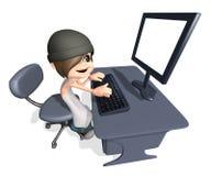3d nastolatka komputerowy bawić się działanie Zdjęcia Stock