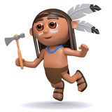 3d Native American Indian Boy Leaps Through The Air Stock Photo