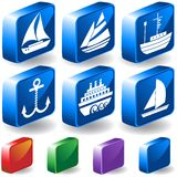 3D Nautical Buttons. Set of 6 3D Nautical Buttons Royalty Free Stock Photography