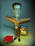 3D nerd cartoon character Stock Photo