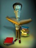 3D nerd cartoon character Stock Photo