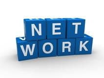 3d network blue cube Stock Photos
