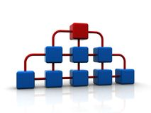 3d network of blue cubes with red one on top Stock Photo