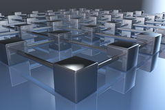 3d network connections. 3d network cube connections mirroring on floor Royalty Free Stock Images