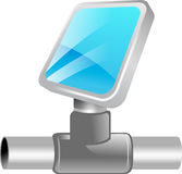 3D Network icon. A three dimensional illustration of a computer monitor connected to a network conduit or cable.  Illustration belongs to tekno icon set Royalty Free Stock Photos