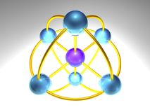 3D Network Node. 3d rendering of network node with 5 elements Royalty Free Stock Images