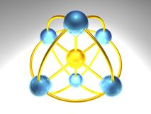 3D Network Node. 3d rendering of network node with 5 elements Stock Photos