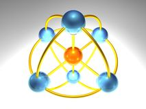 3D Network Node. 3d rendering of network node with 7 elements Stock Photography