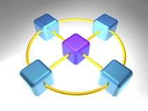 3D Network Node. 3d rendering of network node with 5 elements Royalty Free Stock Image