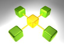 3D Network Node Stock Photo