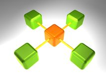3D Network Node. 3d rendering of network node with 5 elements Stock Images