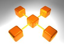 3D Network Node. 3d rendering of network node with 5 elements Royalty Free Stock Photography
