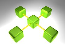 3D Network Node. 3d rendering of network node with 5 elements Stock Photo
