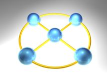 3D Network Node. 3d rendering of network node with 5 elements Royalty Free Stock Photos