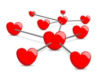 3D Network of Red Hearts Royalty Free Stock Photography