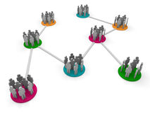3d network team. Orange pink green social connect Royalty Free Stock Photos