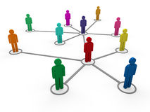 3d network team color. 3d network team red blue green pink social Royalty Free Stock Photos