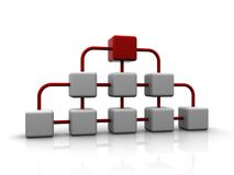 3d network of white cubes with red one on top Royalty Free Stock Photo