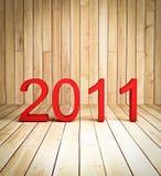 3d neues Jahr 2011 auf hölzernem Hintergrund Stockbild