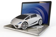 3d new concept car out of laptop Stock Photo