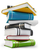 3d new pile of books. On white background Royalty Free Stock Photos