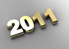 3d new year 2011. 3d golden new year 2011 shape Royalty Free Stock Photo