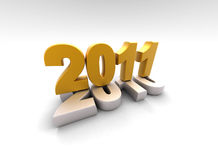 3d new year 2011. A 3d golden new year 2011 shape Royalty Free Stock Photography