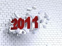 3d new year 2011. Shape passing through brik wall vector illustration