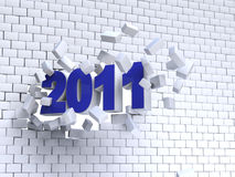3d new year 2011. Shape passing through brik wall royalty free illustration