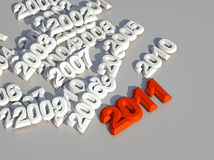 3d new year 2011. Red shape Stock Images