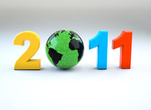 3d new year 2011 illustration. New year 2011 illustration with 3d globe Stock Images