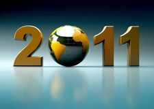 3d new year 2011 illustration. New year 2011 illustration with 3d glossy globe Royalty Free Stock Image