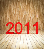 3d new year 2011 on wood background. Perspective view stock illustration