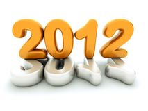 3d new year 2012. Shape on white background Stock Photo