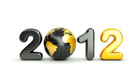 3d new year 2012. Shape on white background with 3d globe vector illustration