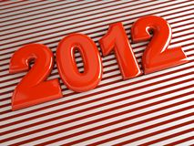3d new year 2012. Shape on striped background Royalty Free Stock Image