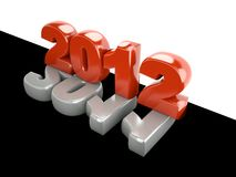 3d new year 2012. Shape on black and white background stock illustration