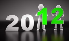 3d new year 2012. New year 2012 shape with two 3d characters on black background Stock Image