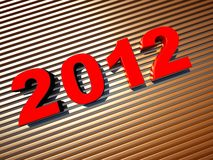 3d new year 2012. Shape on striped background Royalty Free Stock Photos
