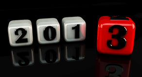 3d new year 2013. New year 2013 3d cubes on black glossy background Royalty Free Stock Images