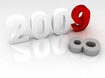 3d new year concept. Changing to 2009 from 2008 - 3d reflection illustration Royalty Free Stock Photography