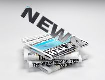 3d news logo. On newspapers in white background - rendering Royalty Free Stock Photos