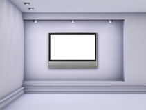 3d niche with spotlights and empty lcd tv Stock Photo