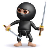3d Ninja with two swords Stock Images